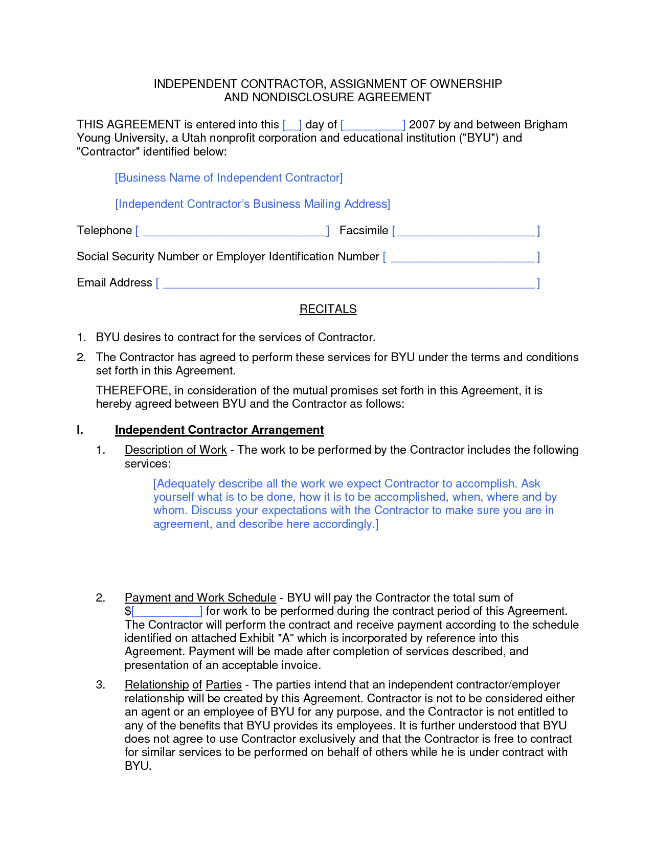 1099 Forms For Independent Contractors