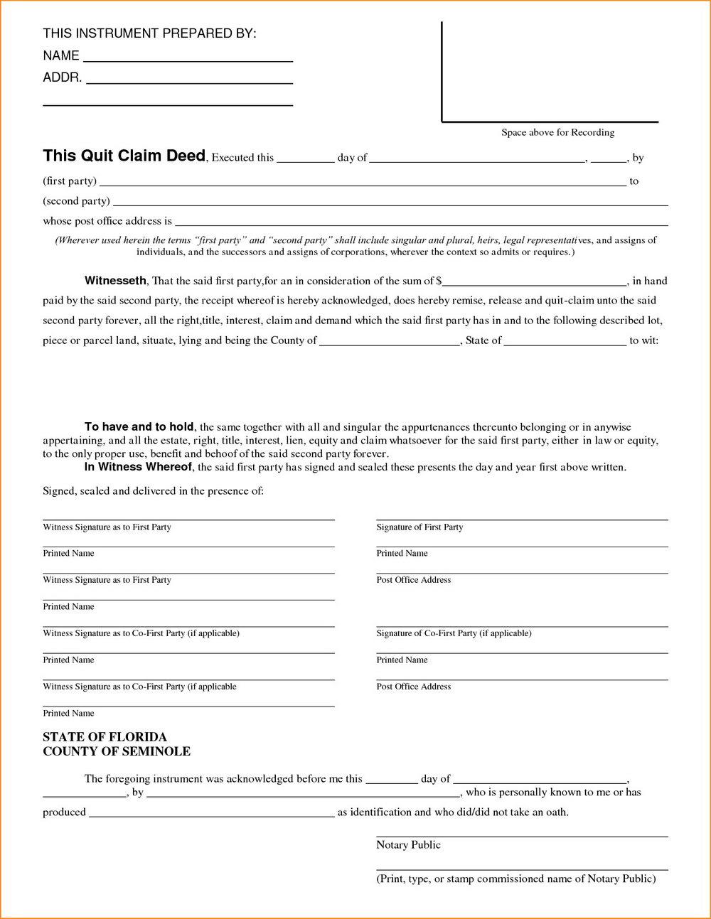 Colorado Quit Claim Deed Form