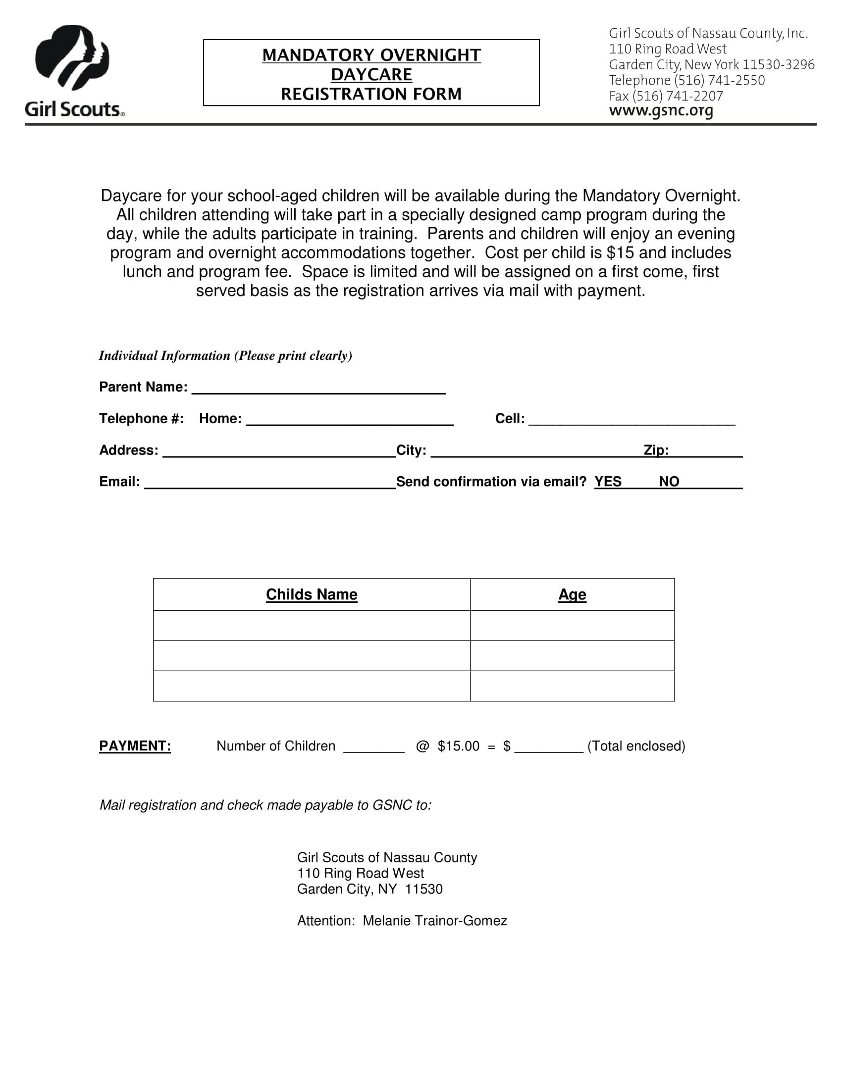 Daycare Registration Forms Samples