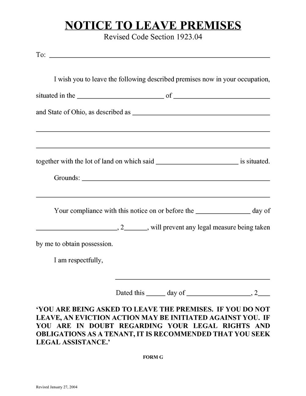 Eviction Notice Form Ohio