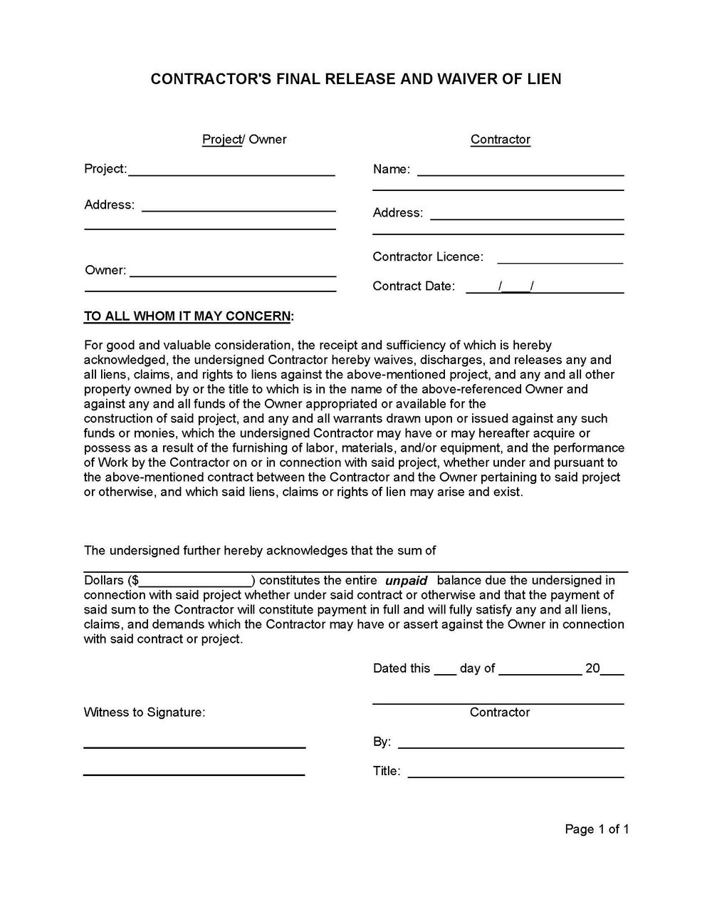 Final Lien Waiver Form