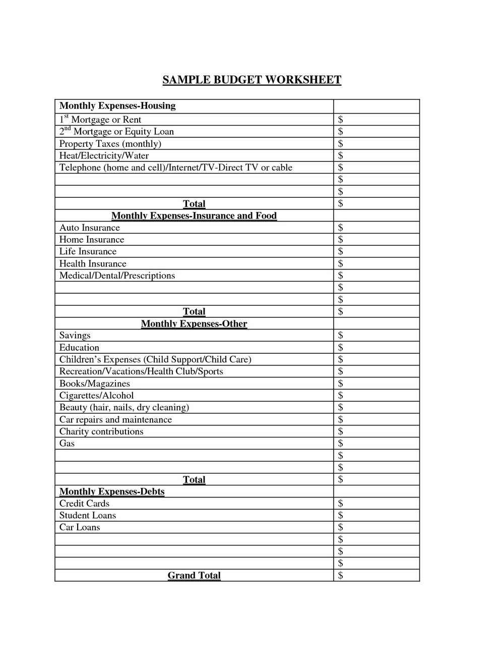 Household Budget Forms Dave Ramsey