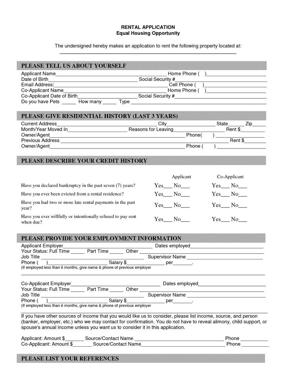 Rental Lease Application Form