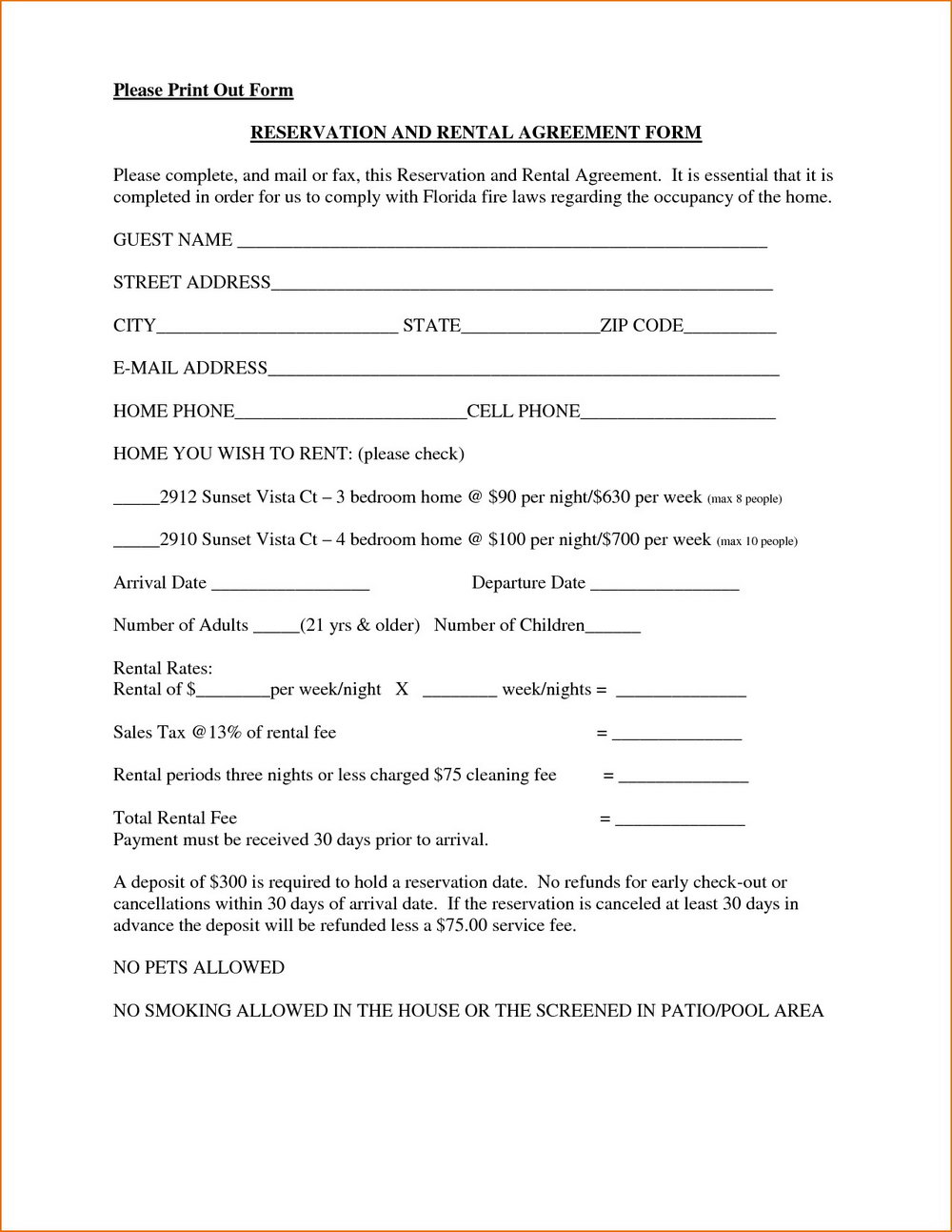 Renters Lease Form
