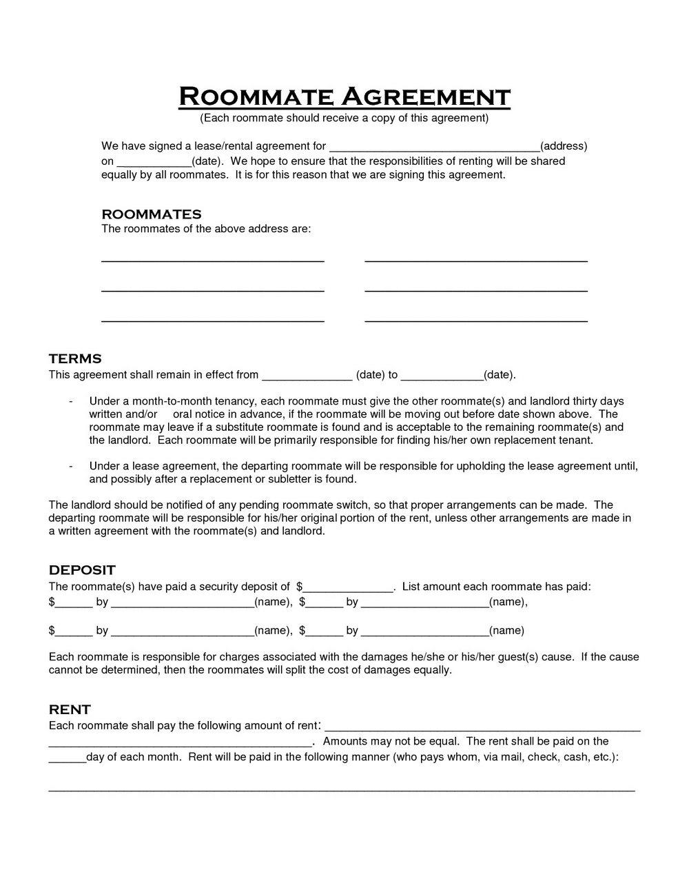 Roommate Rental Agreement Form