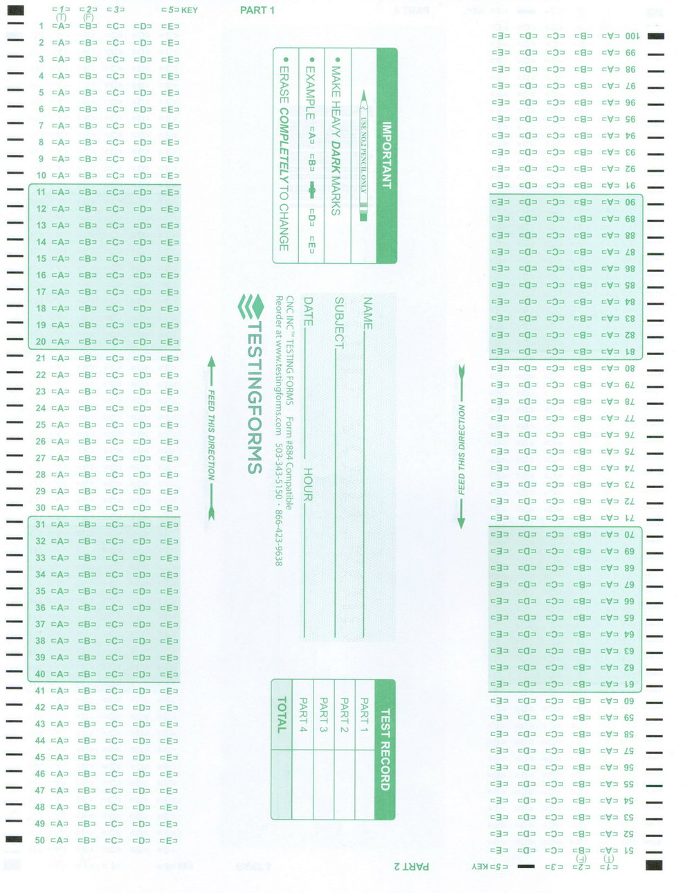 Scantron Form 882 E Office Depot