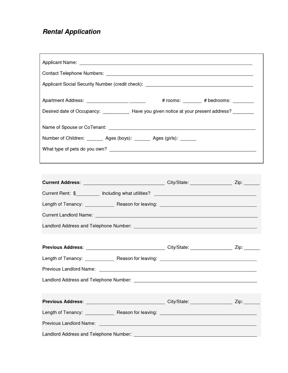 Tenant Background Check Form
