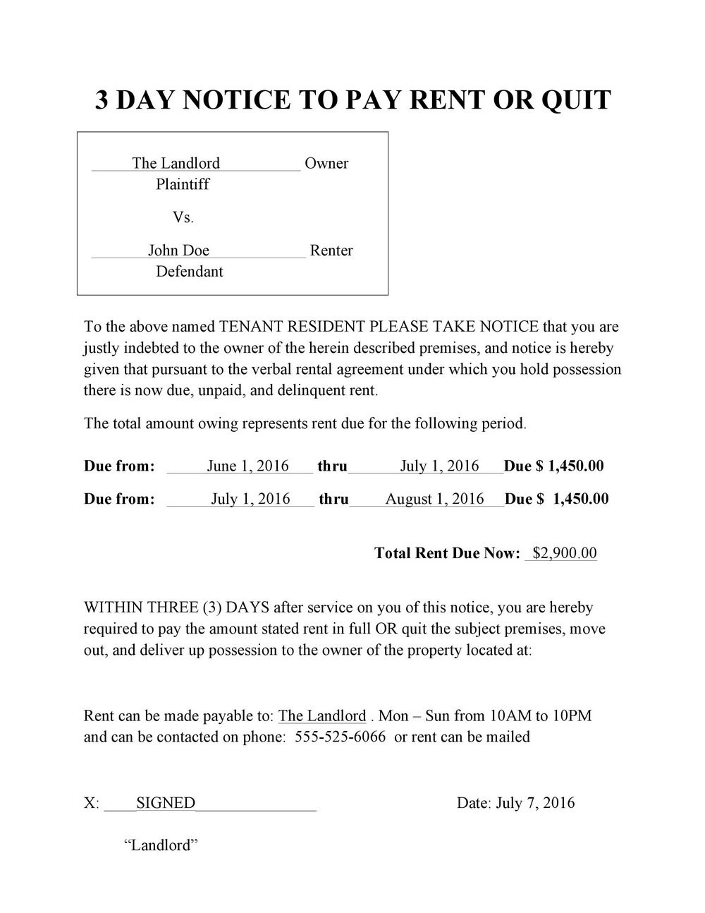 3 Day Notice To Pay Rent Or Quit Form