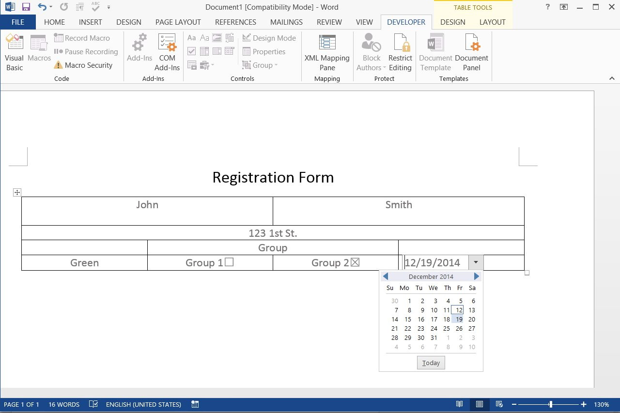 Create Fillable Form