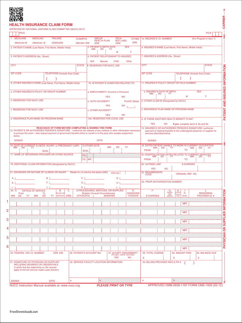 Downloadable Cms 1500 Claim Form