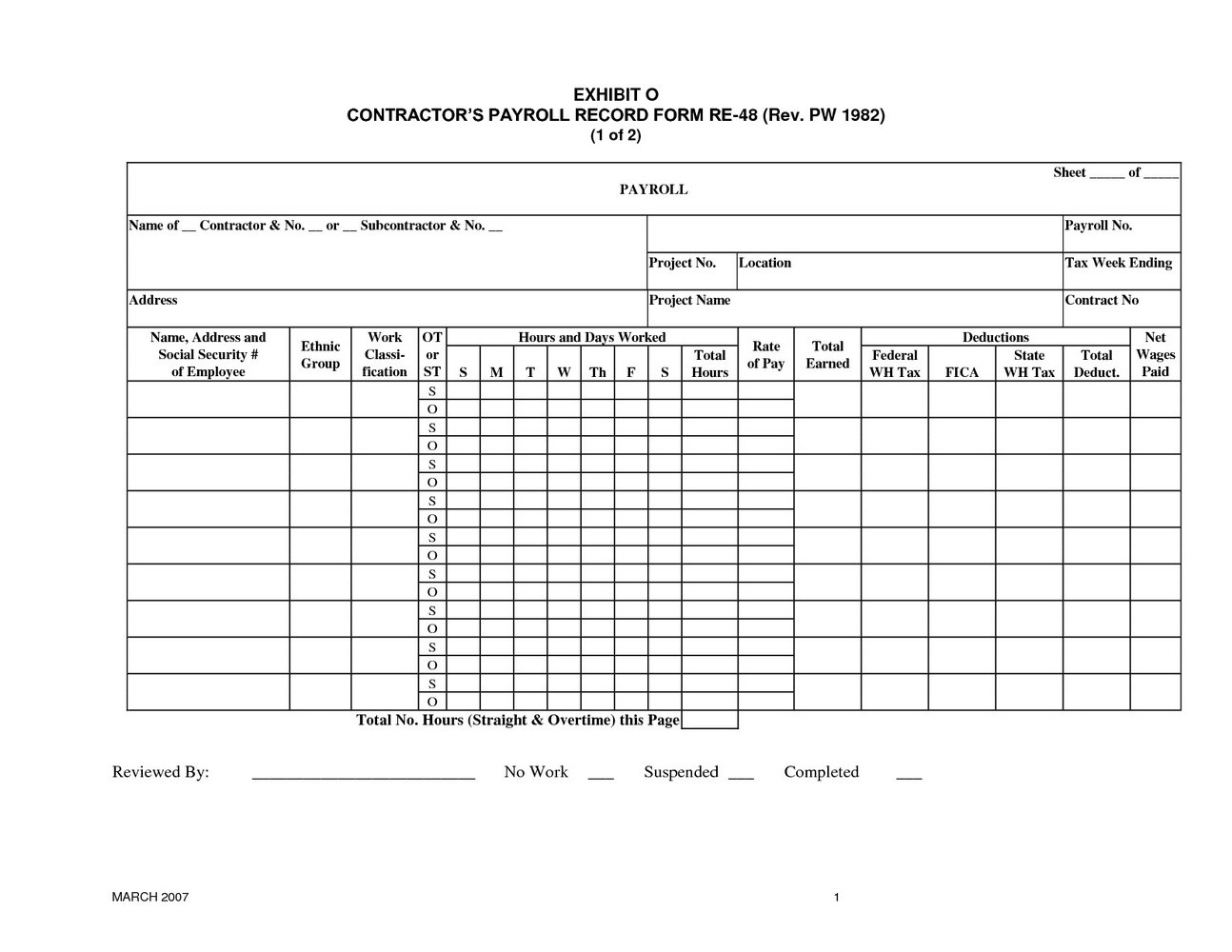Employee Payroll Forms Template