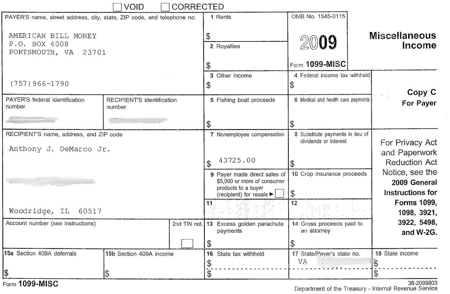Free 1099 Misc Form