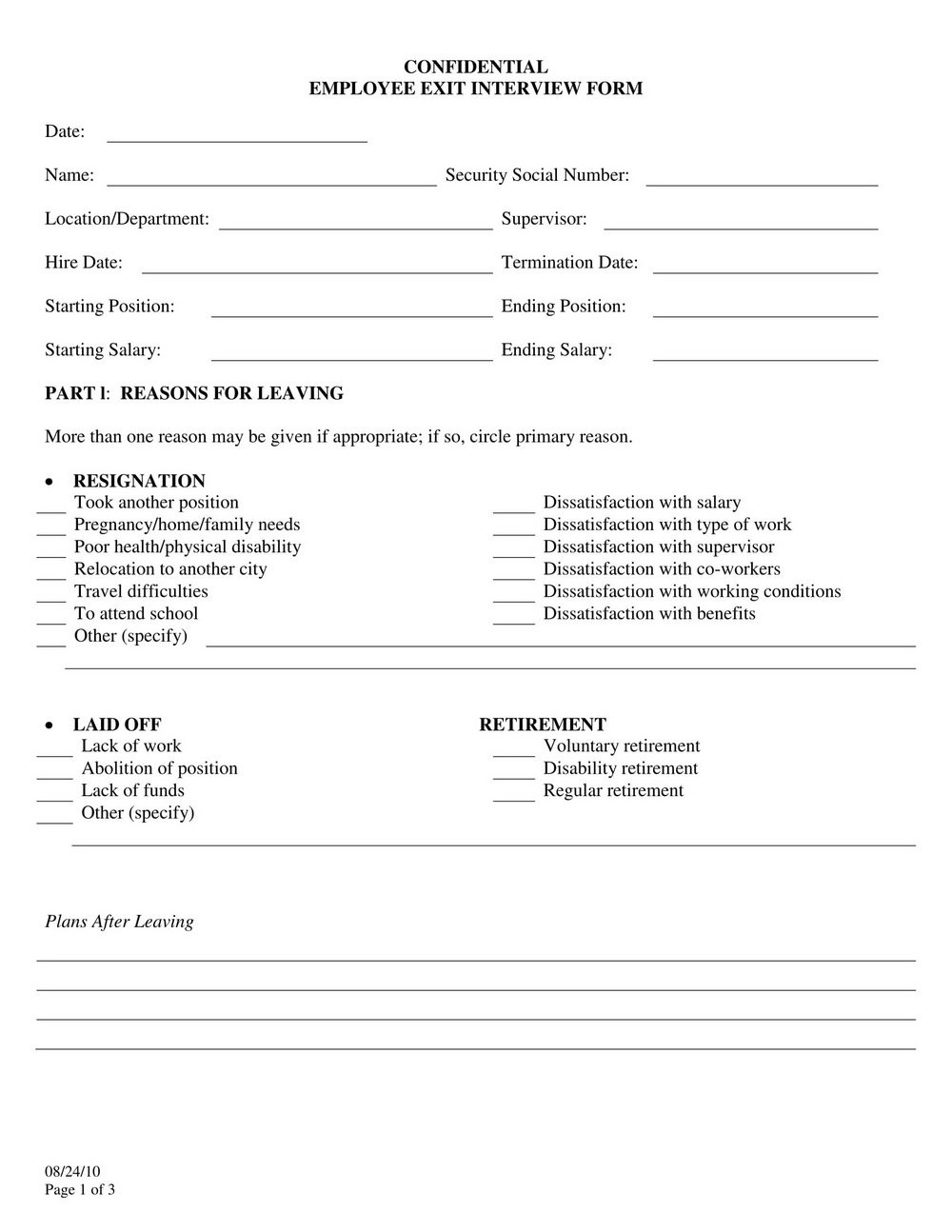 Hr Exit Interview Form