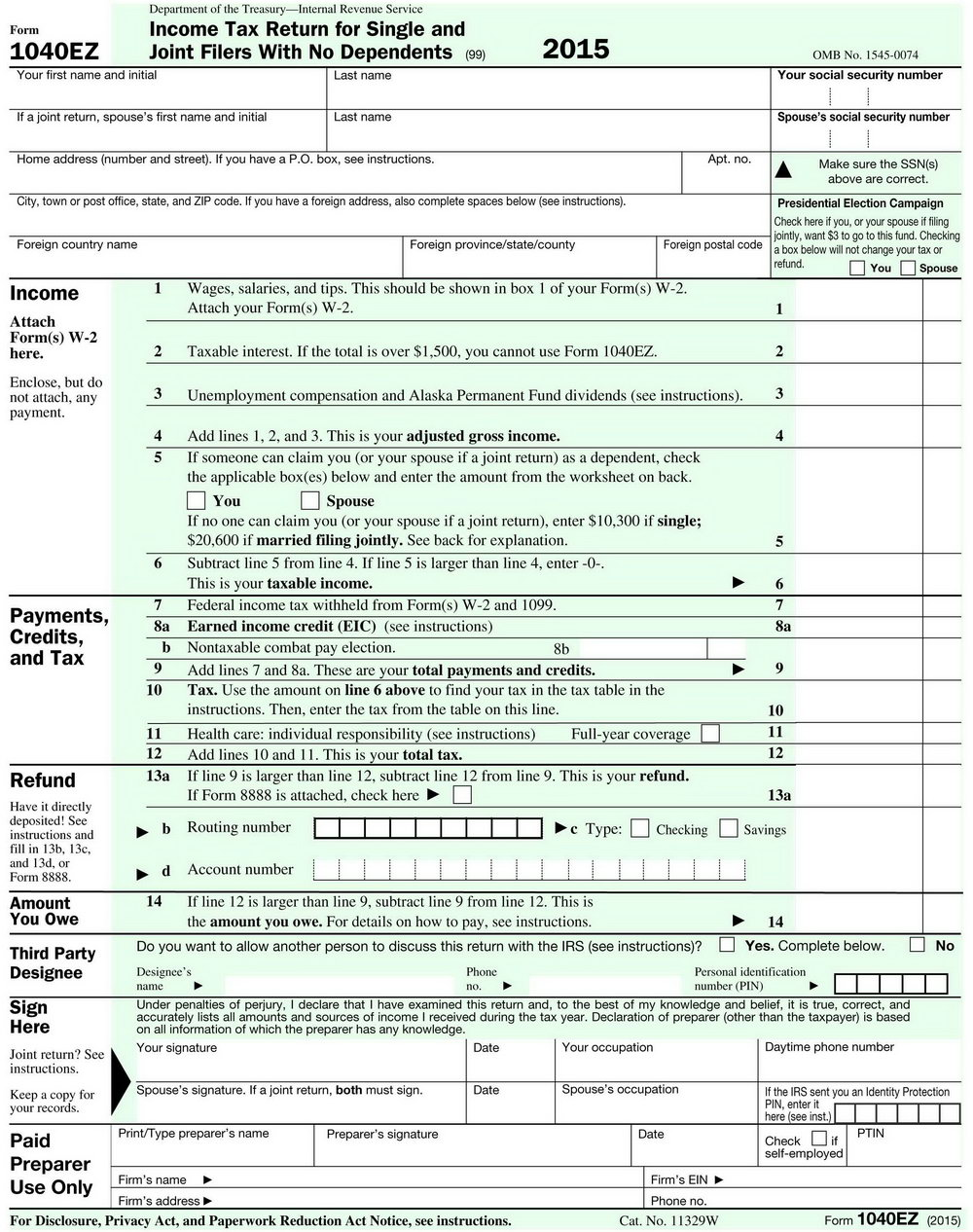 Income Tax Form 1040ez Instructions