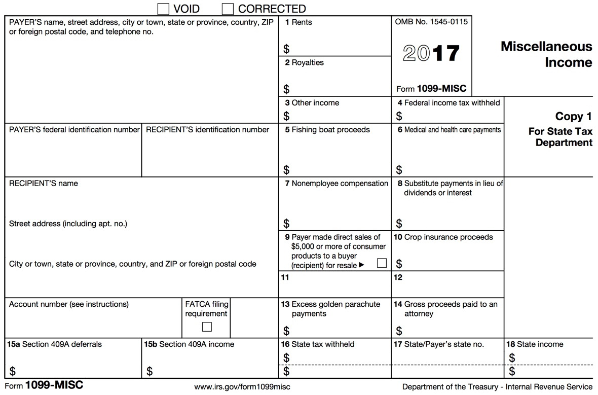 Irs Tax Form 1099 Misc