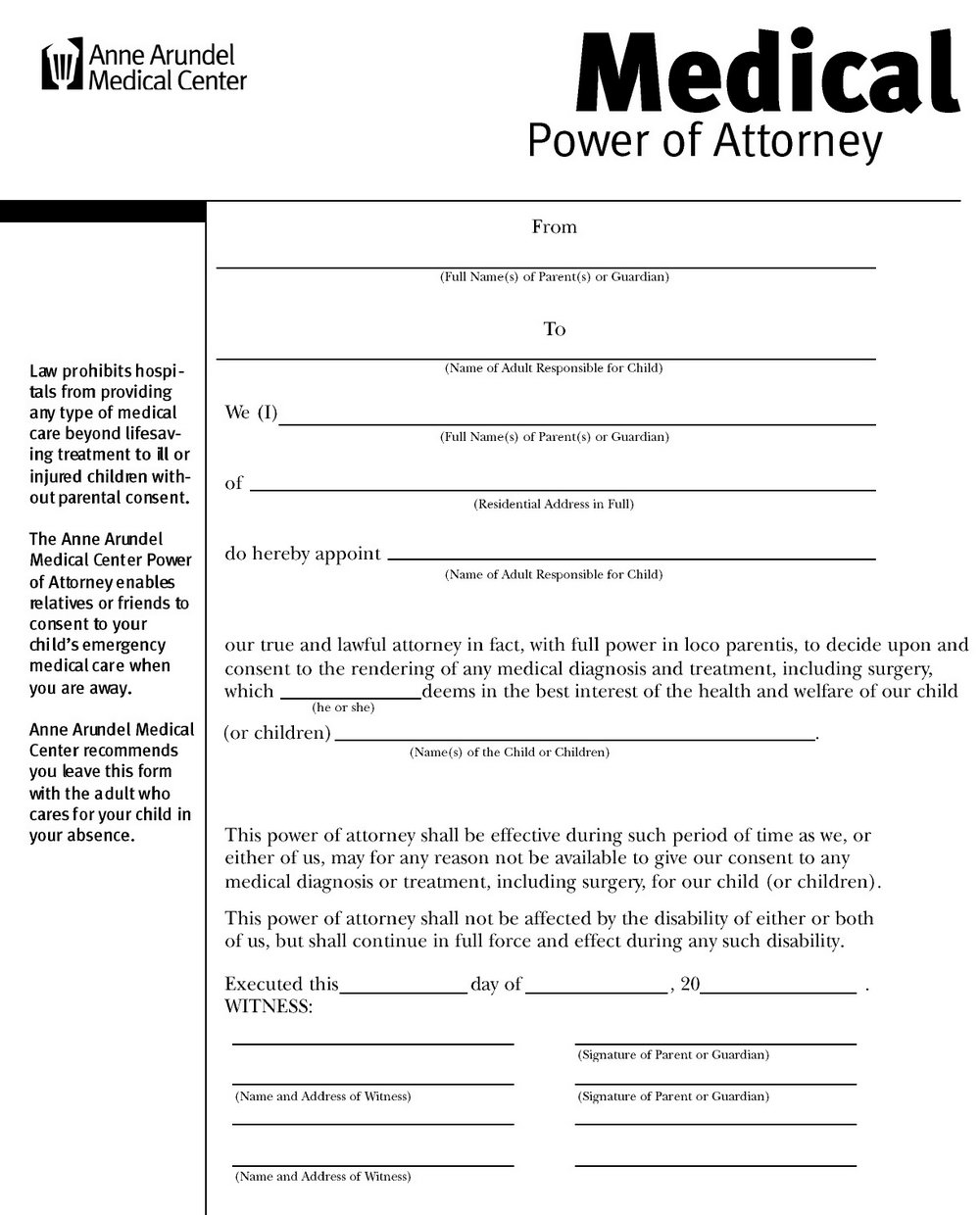 Medical Durable Power Of Attorney Form