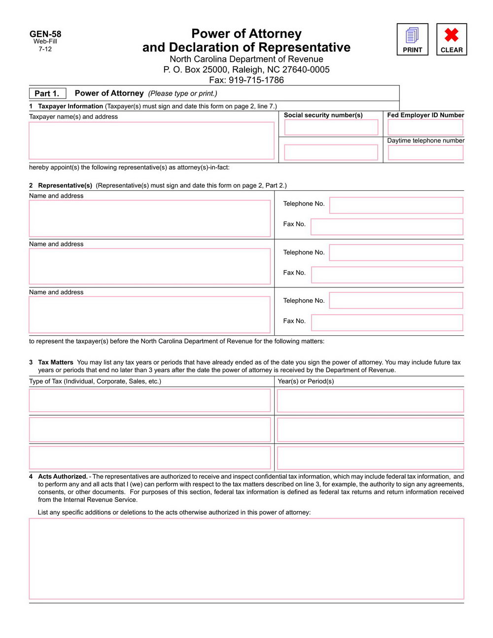 Nc Durable Power Of Attorney Form