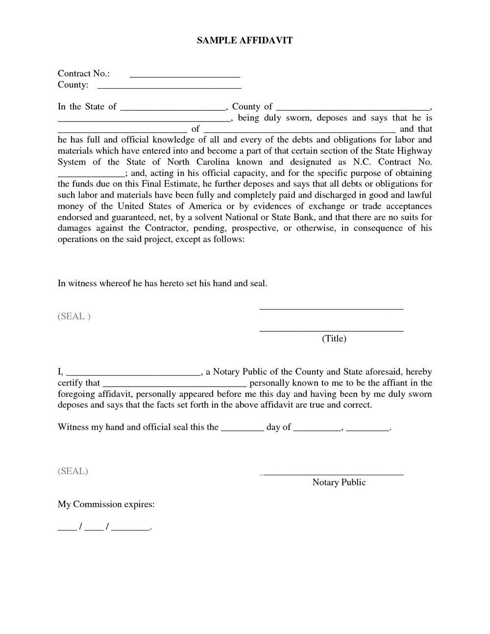 Notary Affidavit Form Florida