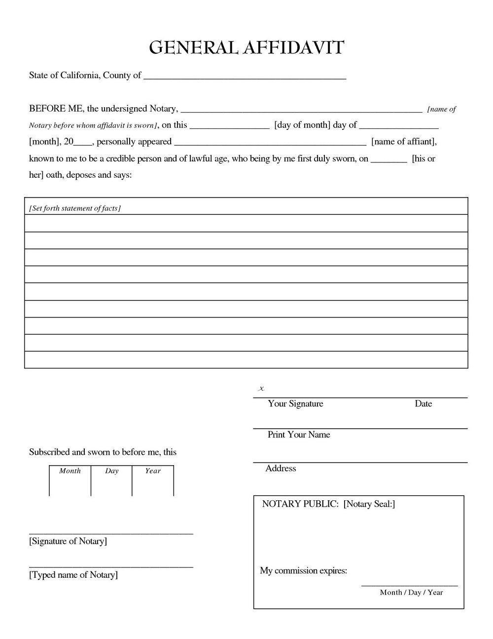 Notary Affidavit Form For Birth Certificate