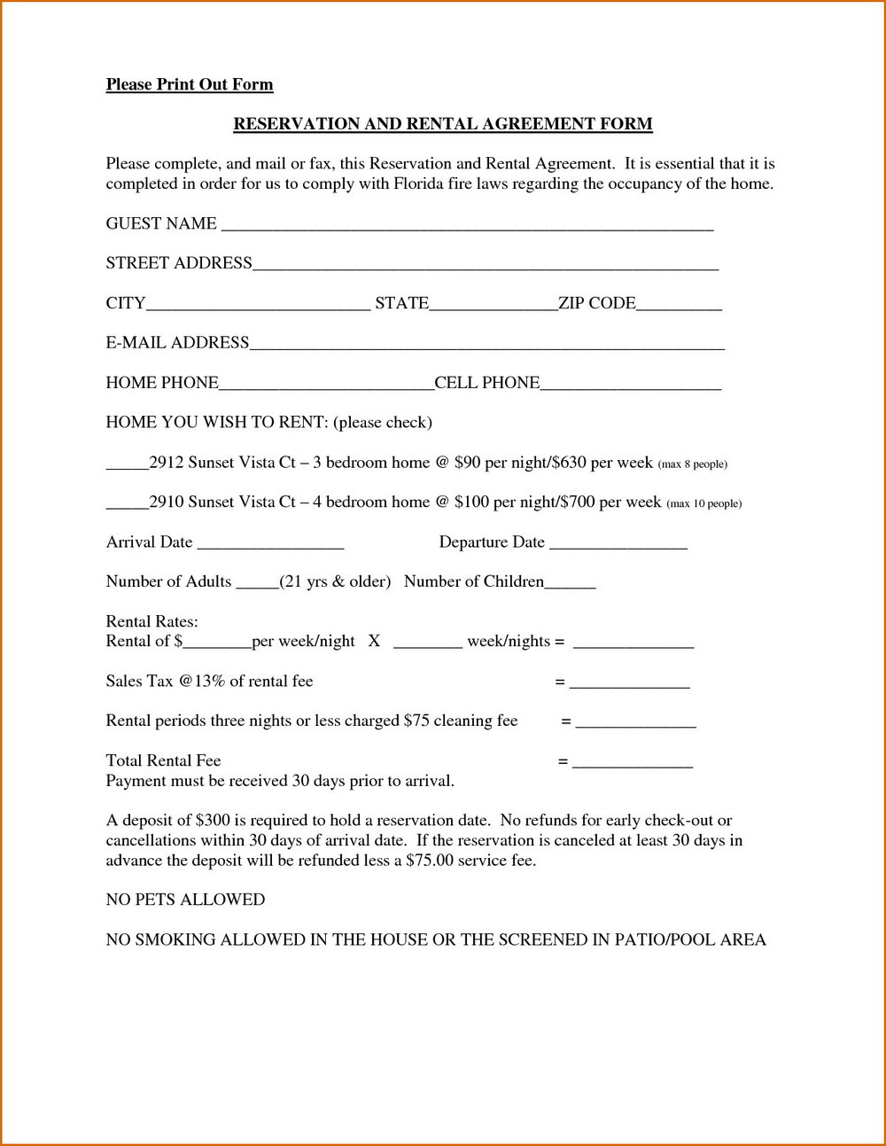 Online Lease Forms