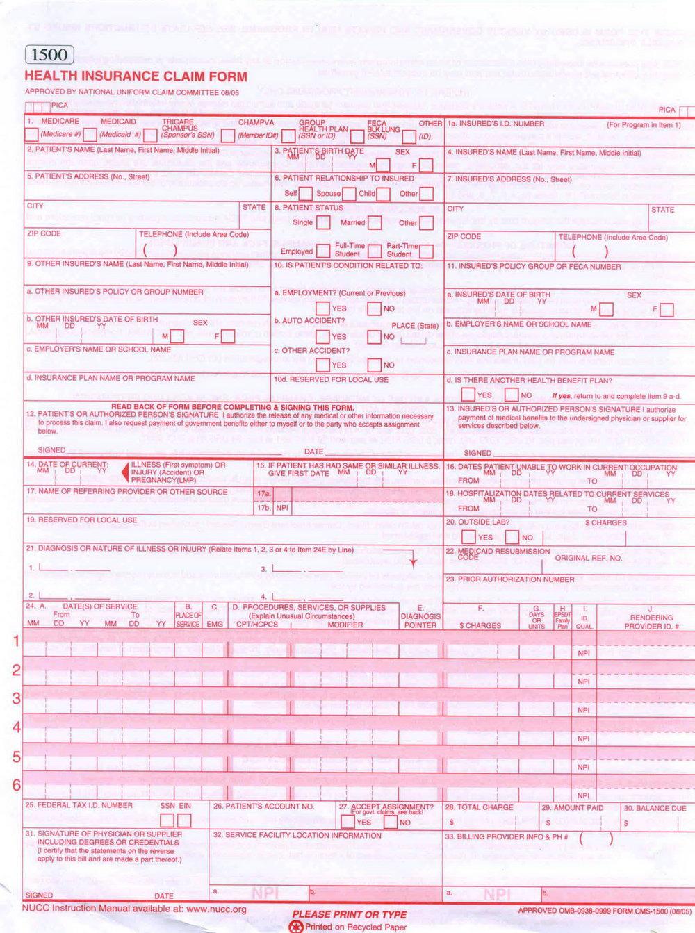 Printable Cms 1500 Form 02 12