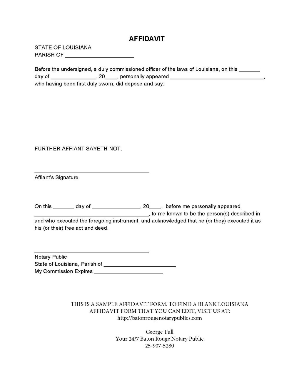 Sample Notary Affidavit Form