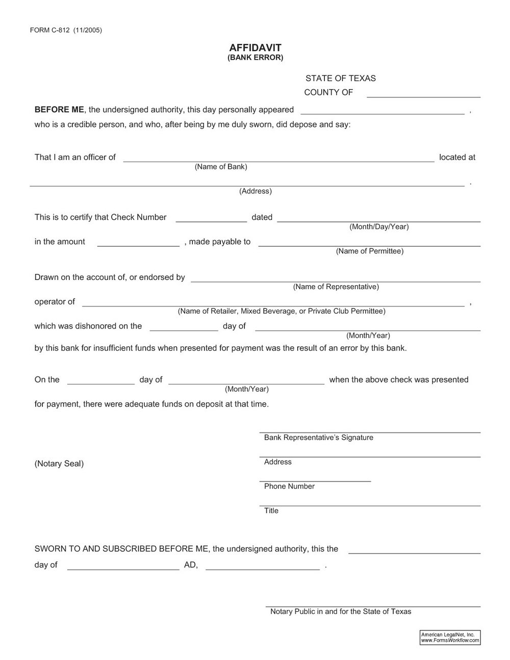 Texas Notary Affidavit Form