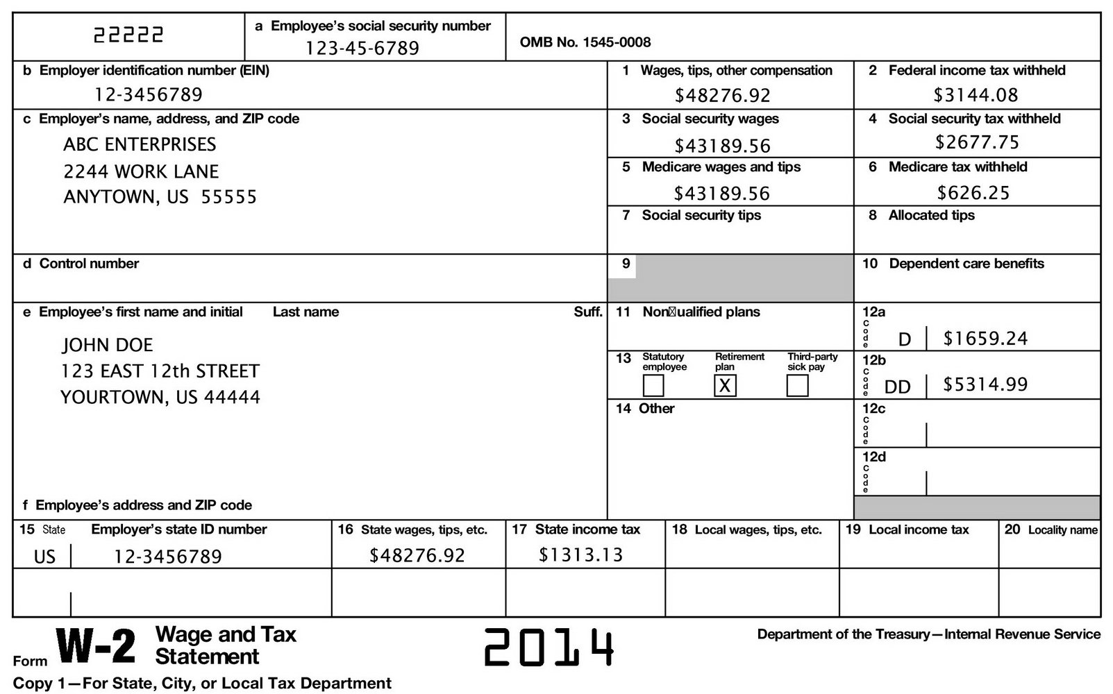 2013 W2 Fillable Form