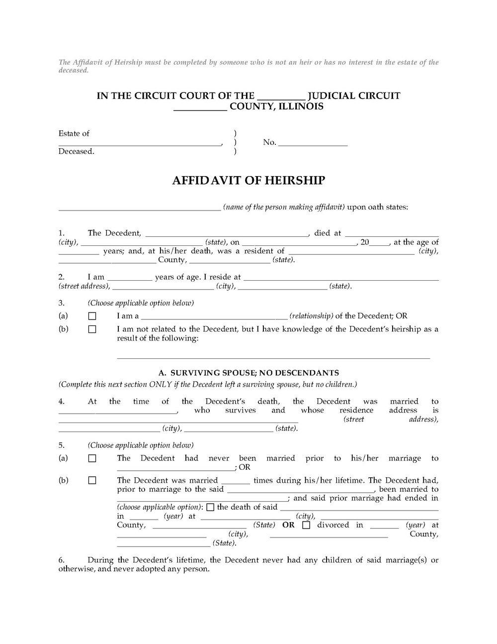 Affidavit Of Death And Heirship Form Texas