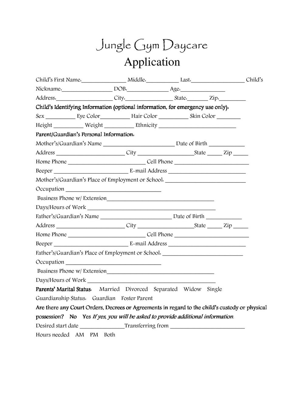 Daycare Application Form Sample