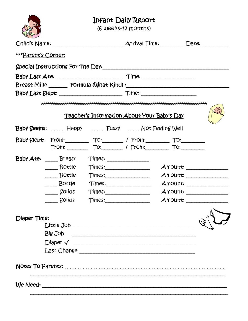 Daycare Forms For Parents