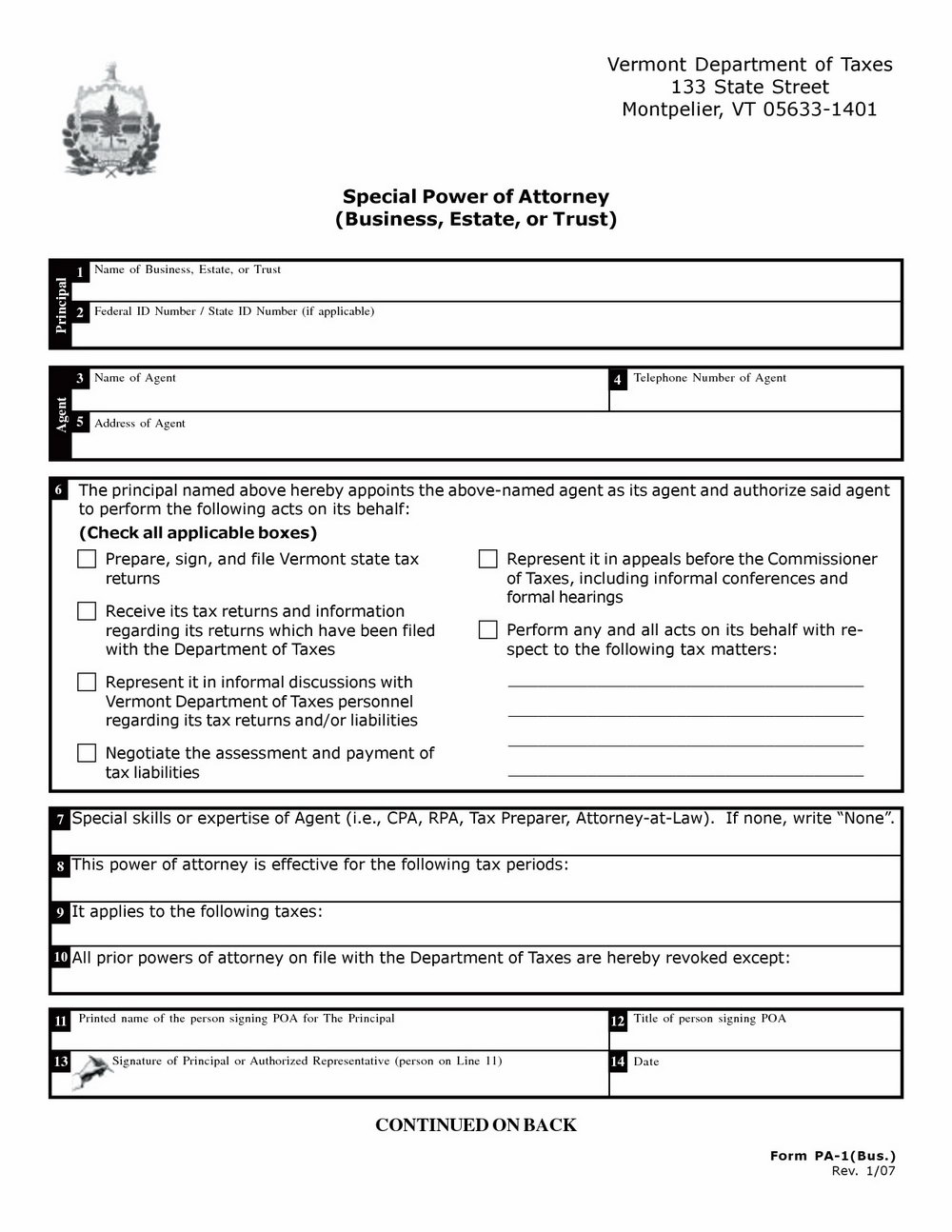 Durable Power Of Attorney Form Free Printable