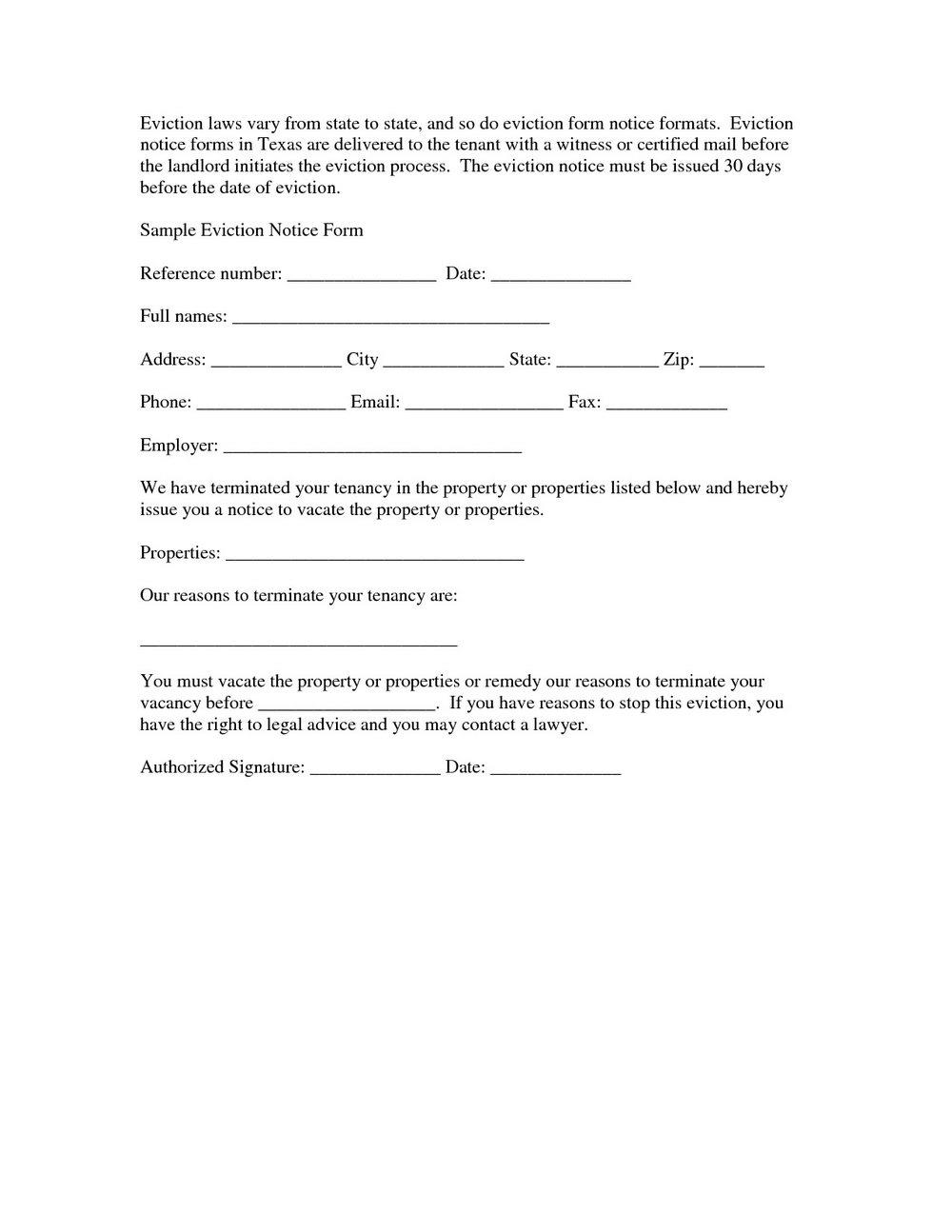 Formal Eviction Letter