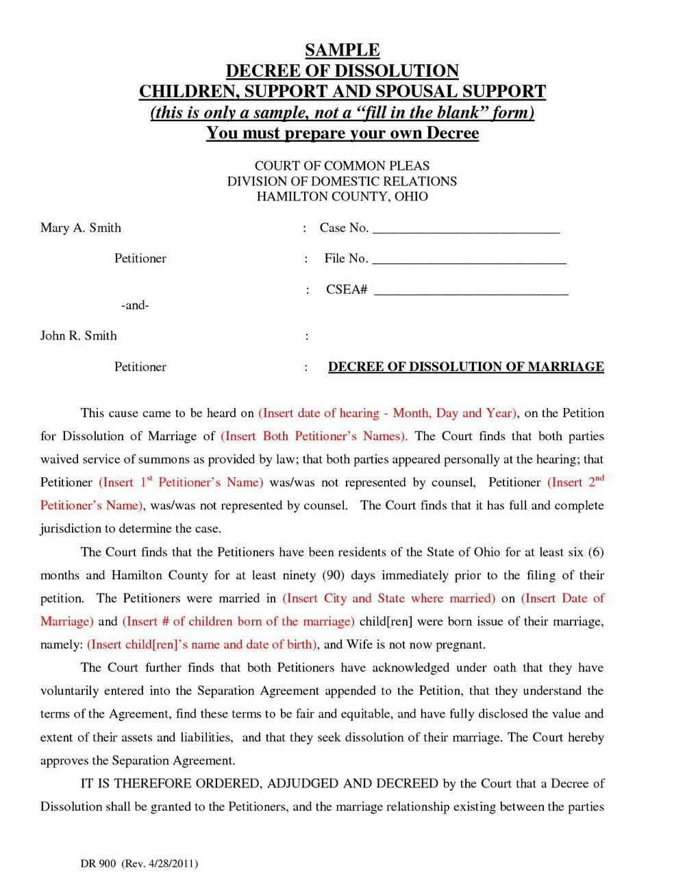 Free Ohio Divorce Forms