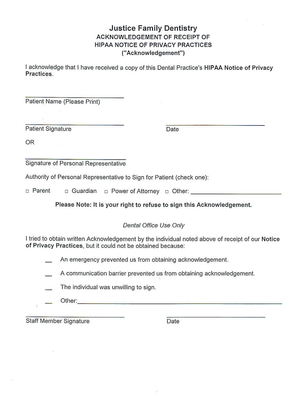 Hipaa Privacy Form For Patients