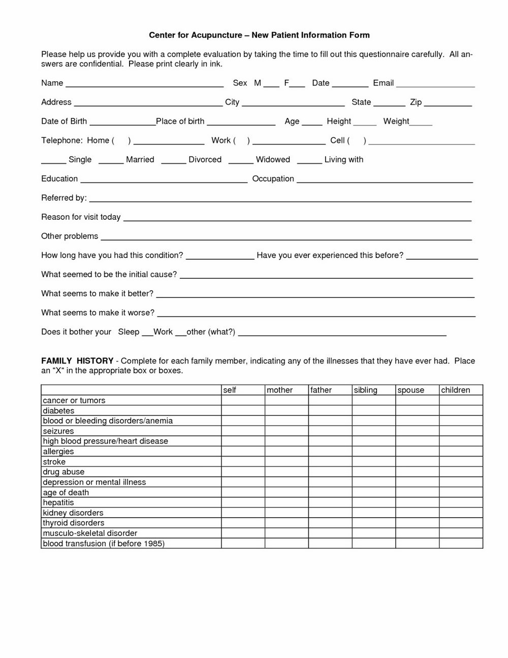 Personal Injury Intake Form Chiropractic