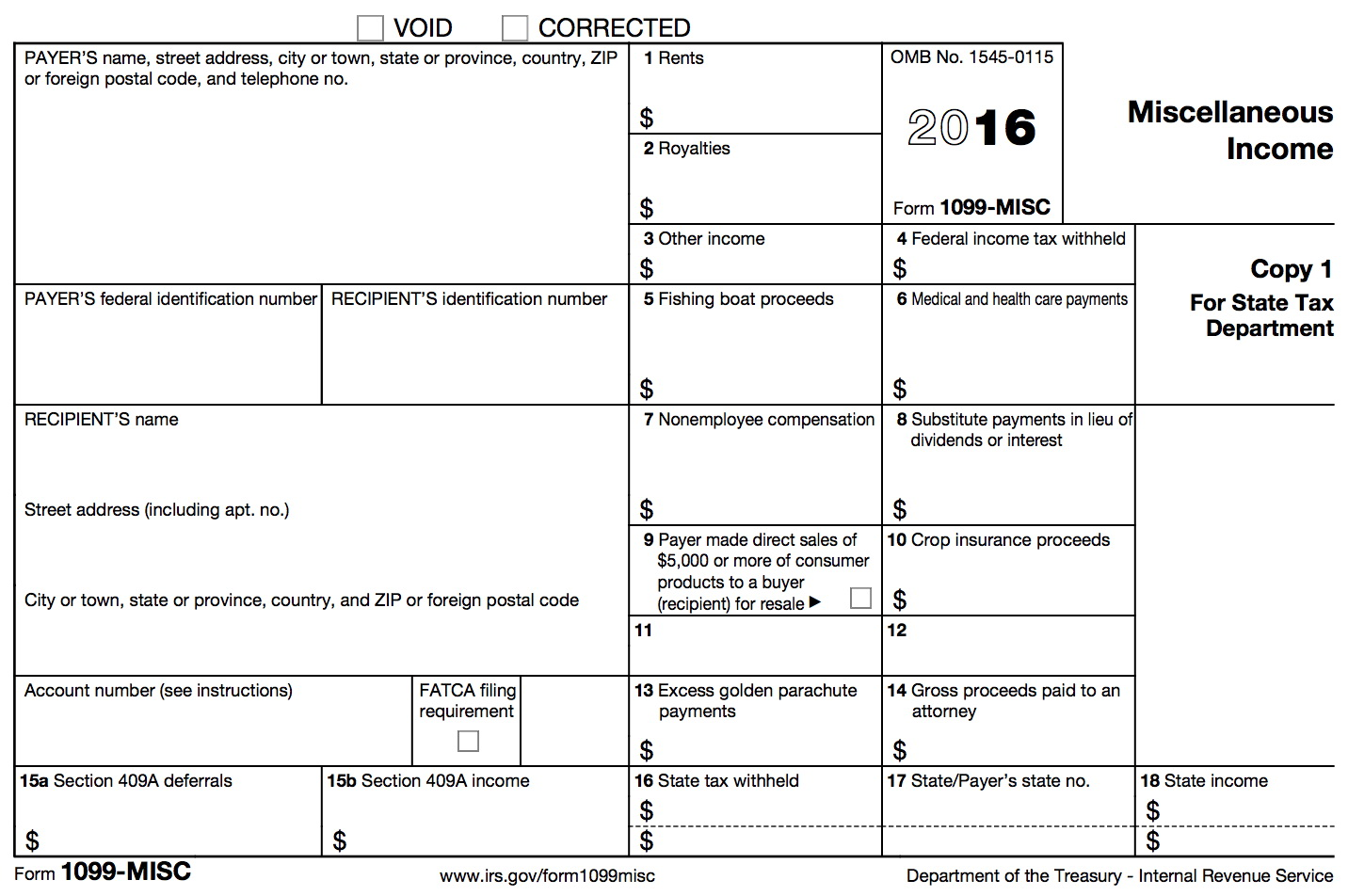 1099 Form Misc Instructions
