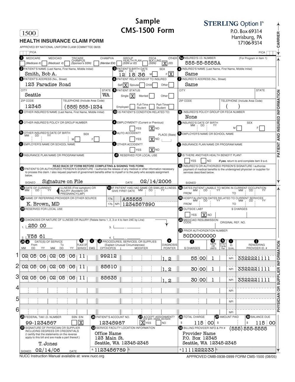 1500 Health Insurance Claim Form Template