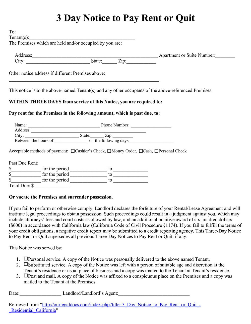 3 Day Notice To Pay Or Quit California Form