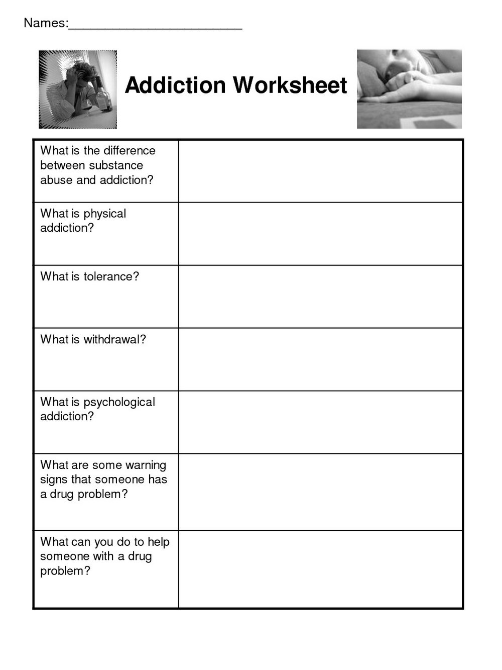 Addiction Recovery Worksheets