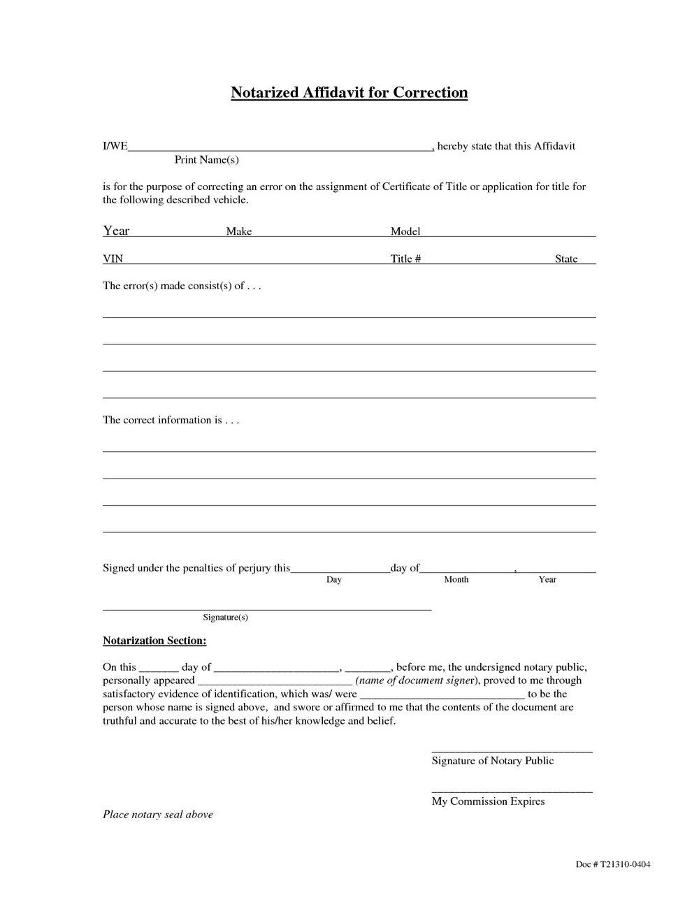 Affidavit Of Loss Sample Form