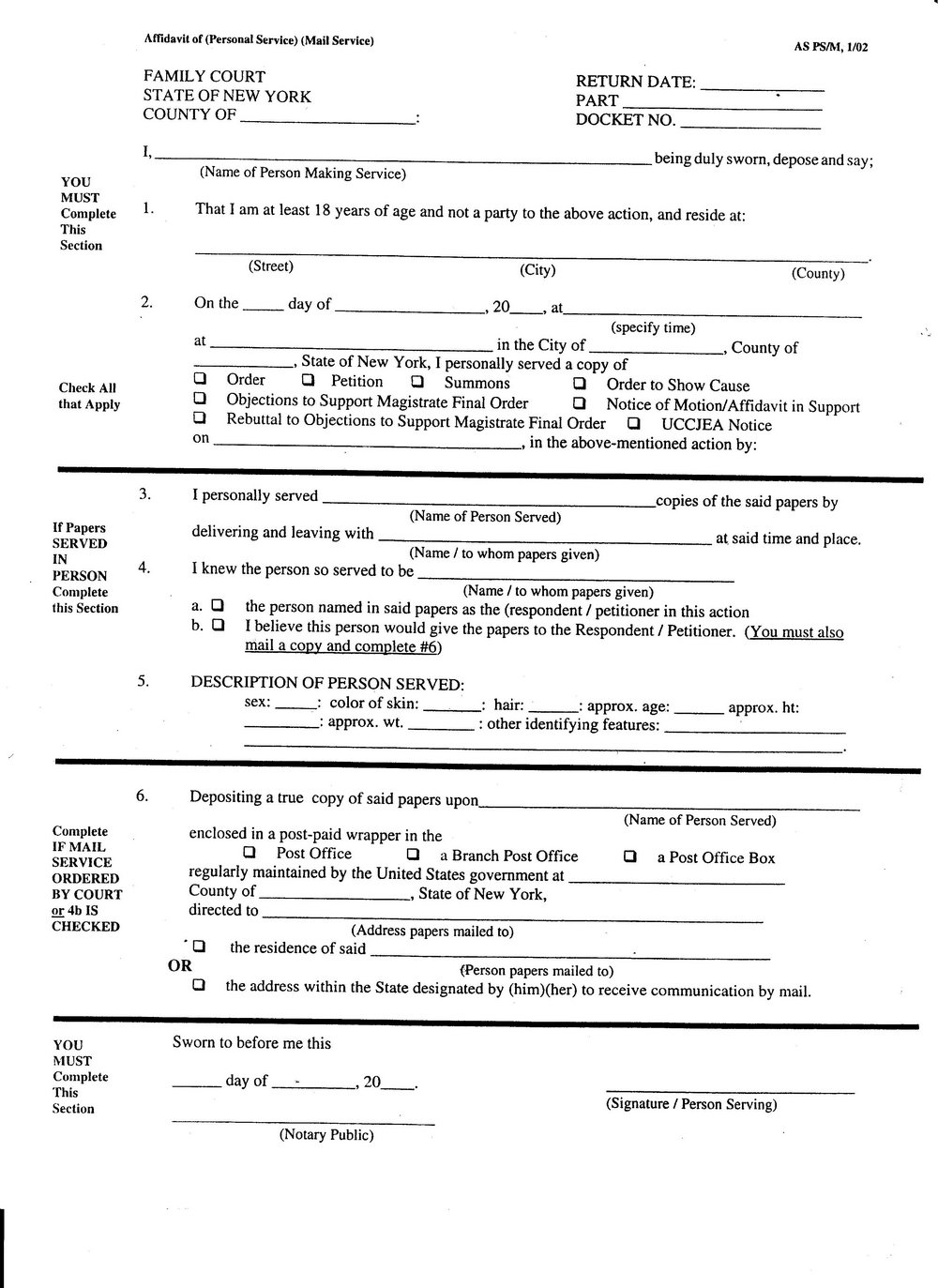 Affidavit Of Service Form Ny
