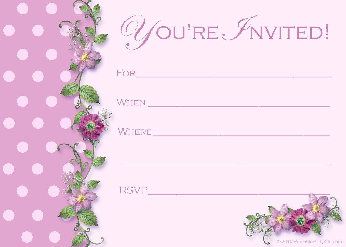 Birthday Invitation Templates Girl