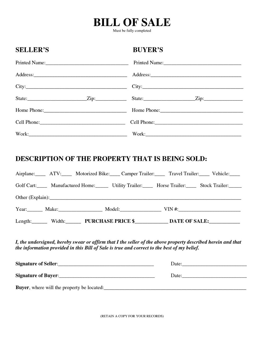 Blank Vehicle Bill Of Sale Form