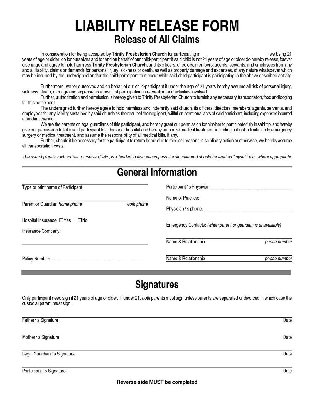 Blank Waiver Of Liability Form