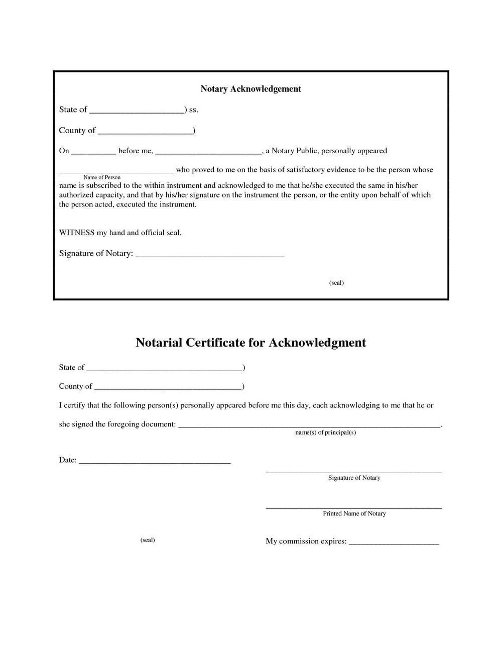 California Notary Forms 2017