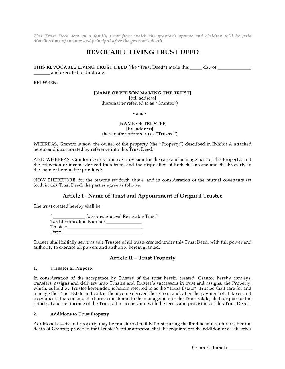 California Revocable Living Trust Form