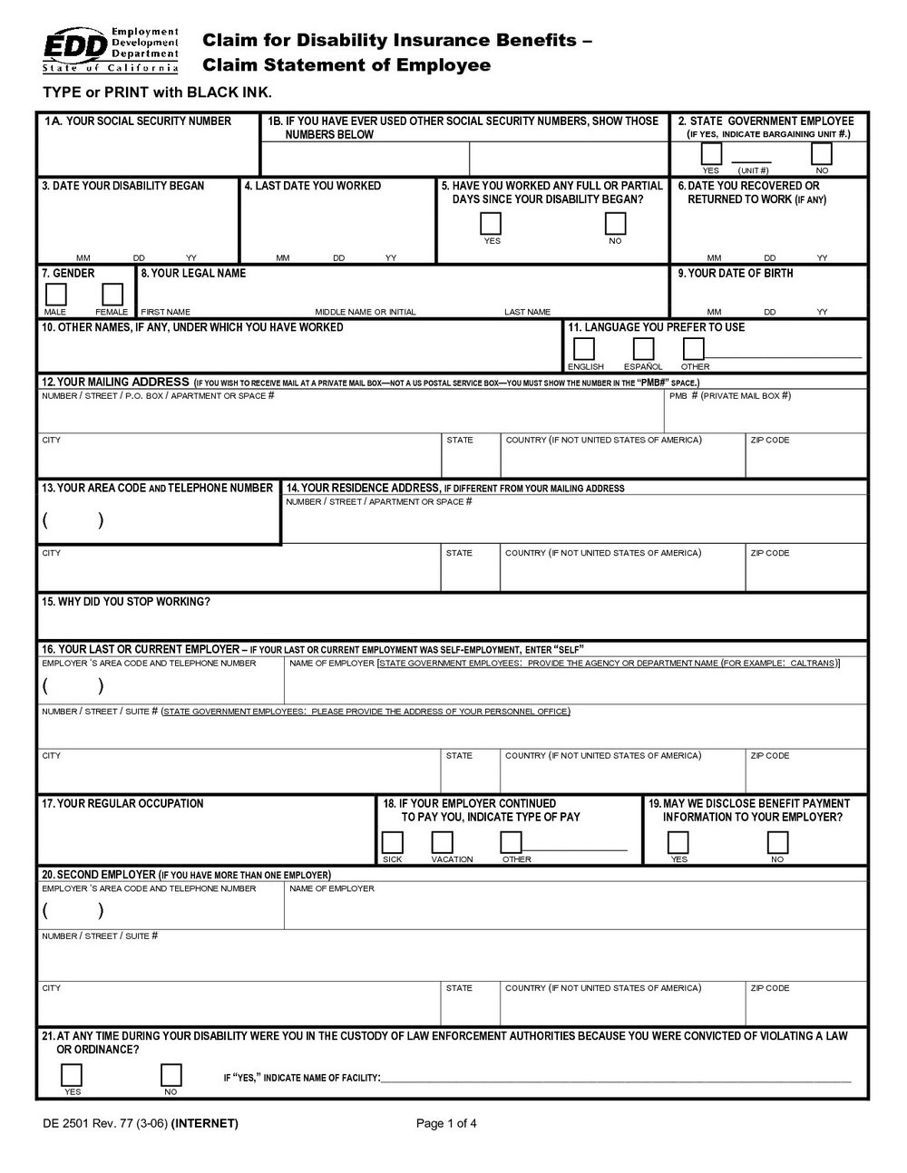 California State Disability Application Forms