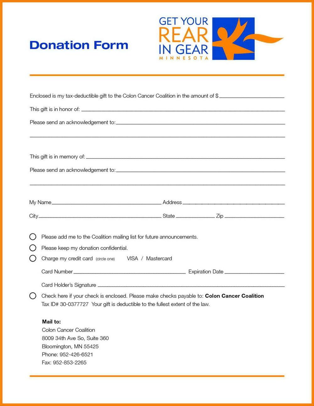 Charity Pledge Form