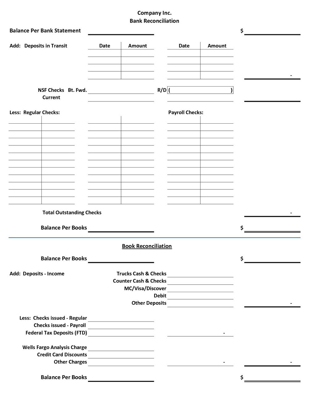 Checking Account Reconciliation Worksheet